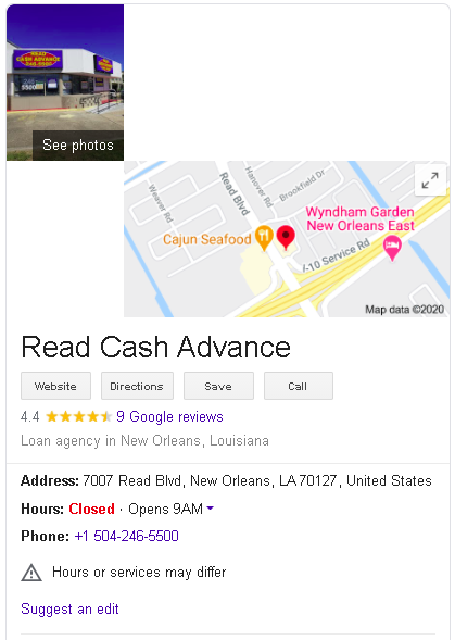 Read Cash Advance