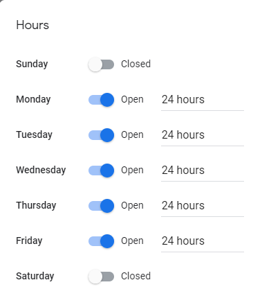 Hours of opening